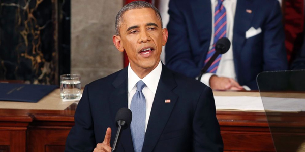 President Obama delivering the 2015 State of the Union address