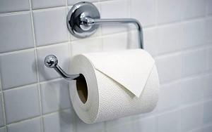 AAY2JJ Toilet roll neatly folded in hotel bathroom